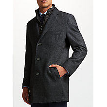 Buy Bugatti Semi Plain Overcoat, Mid Grey Online at johnlewis.com
