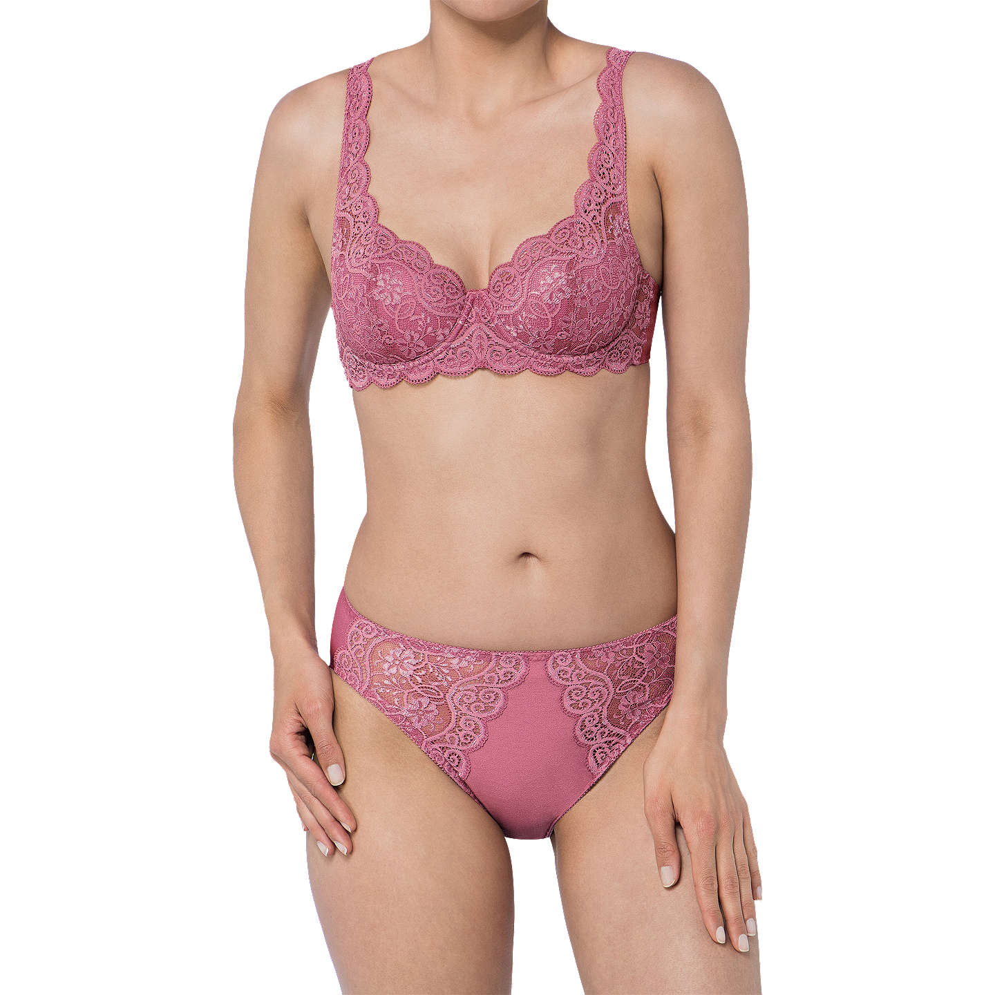 BuyTriumph Amourette 300 Underwired Balcony Bra, Rose, 32B Online at johnlewis.com
