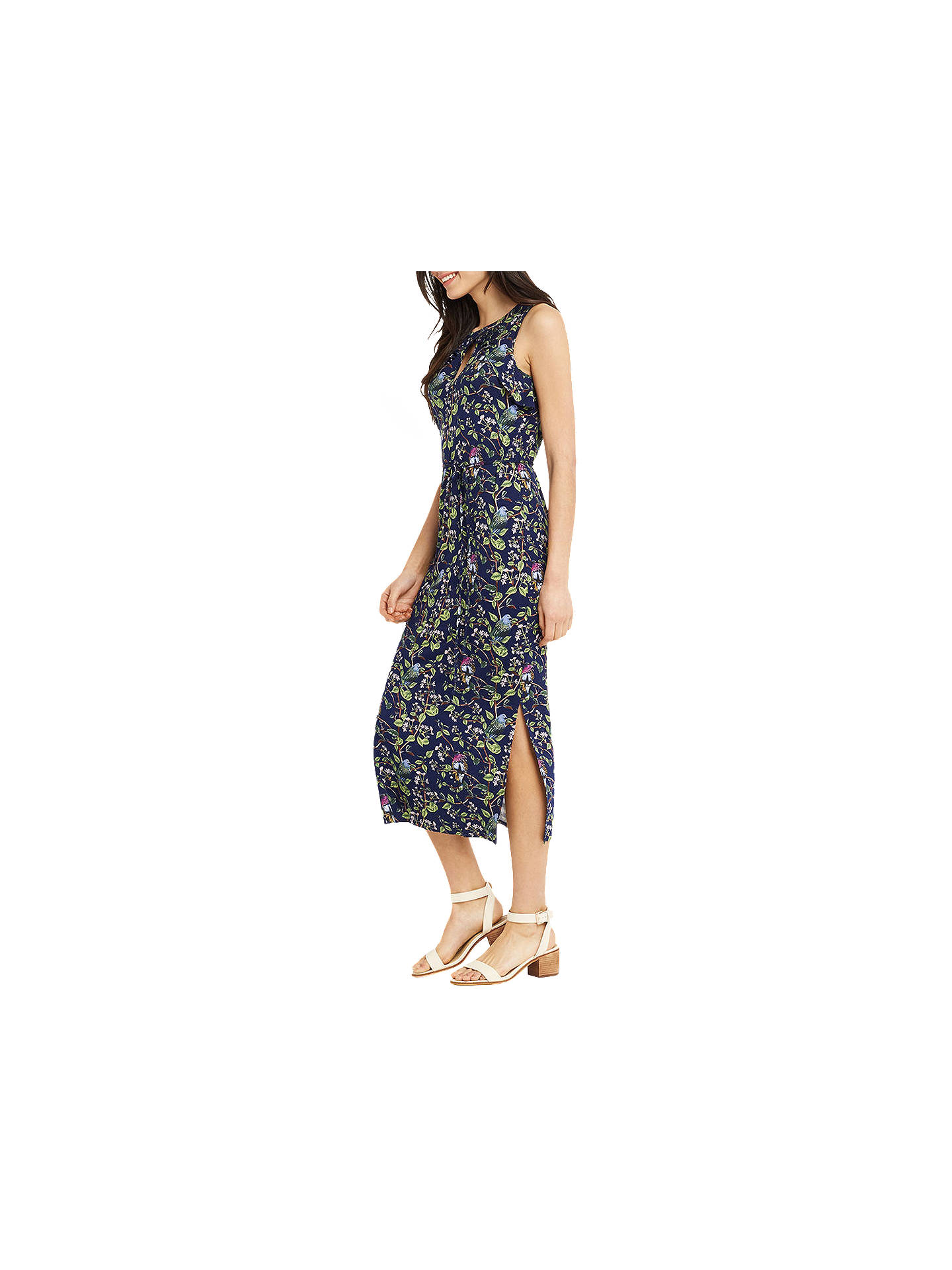 8ef9c02c3188 Buy Oasis Topaz Bird Print Midi Dress, Navy, XS Online at johnlewis.com ...