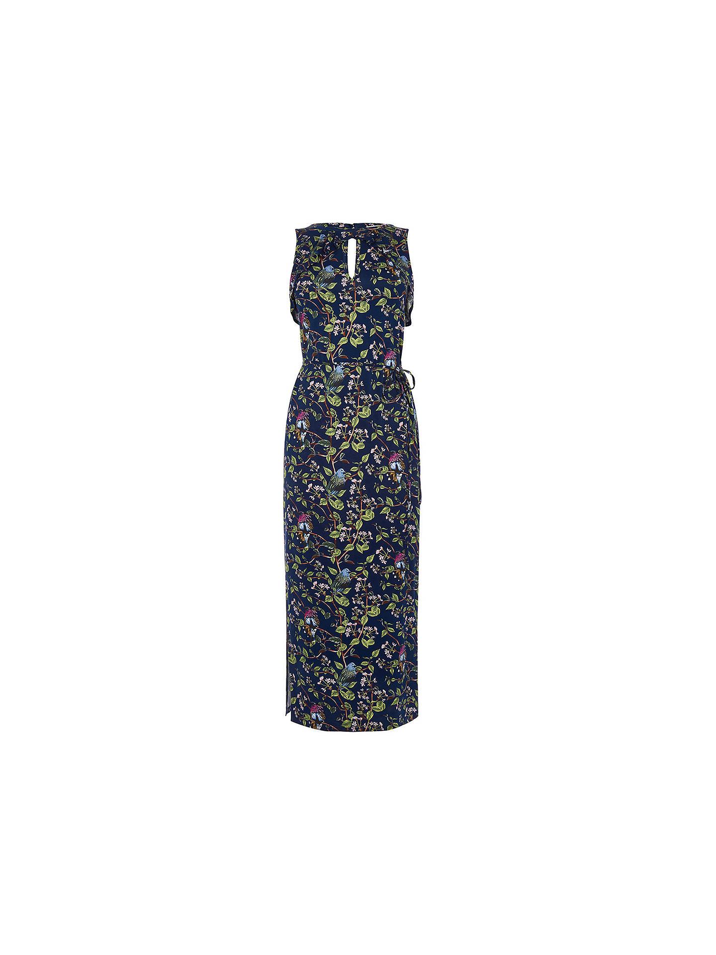 8b07510e2ca5 ... Buy Oasis Topaz Bird Print Midi Dress, Navy, XS Online at johnlewis.com  ...