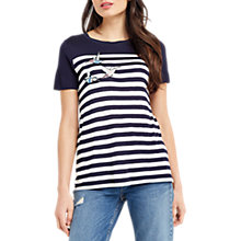 Buy Oasis Embroidered Bird Stripe T-Shirt, Blue Online at johnlewis.com