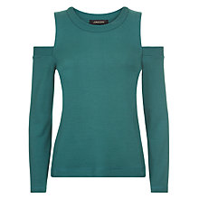 Buy Jaeger Cold Shoulder Jersey Top, Green Online at johnlewis.com