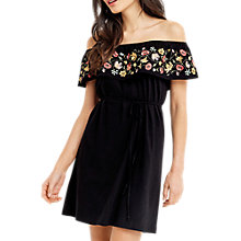 Buy Oasis Embroidered Bardot Dress, Multi/Black Online at johnlewis.com