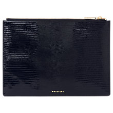Buy Whistles Shiny Lizard Medium Leather Clutch Bag, Navy Online at johnlewis.com