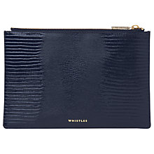 Buy Whistles Lizard Leather Small Clutch Bag, Navy Online at johnlewis.com