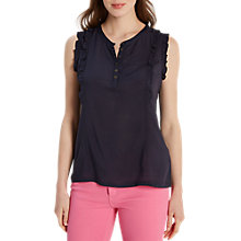 Buy White Stuff Frilly Sleeveless Jersey Shirt, Navy Online at johnlewis.com