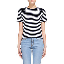 Buy Whistles Chevron Back Stripe T-Shirt, Navy/White Online at johnlewis.com