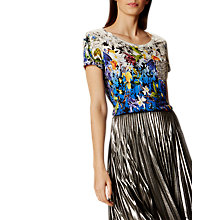 Buy Karen Millen Photo Jersey Top, Blue/Multi Online at johnlewis.com
