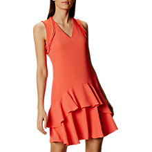 Buy Karen Millen Pleat Collection Dress, Coral Online at johnlewis.com