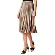 Buy Karen Millen Metallic Pleated Skirt, Gold Online at johnlewis.com
