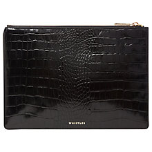 Buy Whistles Shiny Croc Stamped Medium Clutch, Black Online at johnlewis.com