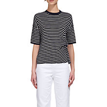Buy Whistles Knot Front Easy Stripe T-Shirt, Navy Online at johnlewis.com