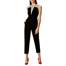 Buy Karen Millen Graphic Panelled Jumpsuit, Black/White Online at johnlewis.com