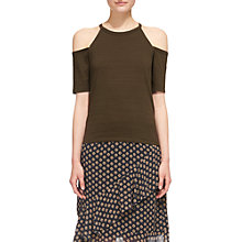 Buy Whistles Cold Shoulder Top, Khaki Online at johnlewis.com