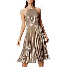 Buy Karen Millen Metallic Pleated Dress, Gold Online at johnlewis.com
