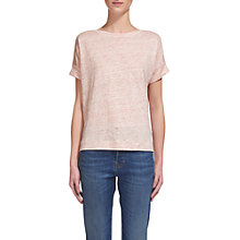 Buy Whistles Boat Neck Linen T-Shirt, Pink Online at johnlewis.com