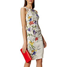 Buy Karen Millen Linear Botanical Dress, White/Multi Online at johnlewis.com