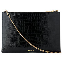 Buy Whistles Leather Large  Clutch, Black Online at johnlewis.com