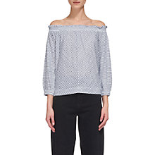 Buy Whistles Stripe Easy Bardot Linen Top Online at johnlewis.com
