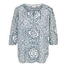 Buy Fat Face Jenny Linear Batik Popover Top, White Online at johnlewis.com