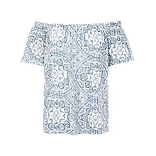 Buy Fat Face Ellen Linear Batik Print Blouse, White/Multi Online at johnlewis.com