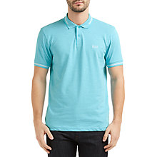 Buy BOSS Green Paul Contrast Tipping Slim Fit Polo Shirt, Open Blue Online at johnlewis.com