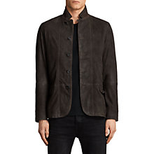 Buy AllSaints Merson Leather Blazer Jacket, Anthracite Grey Online at johnlewis.com