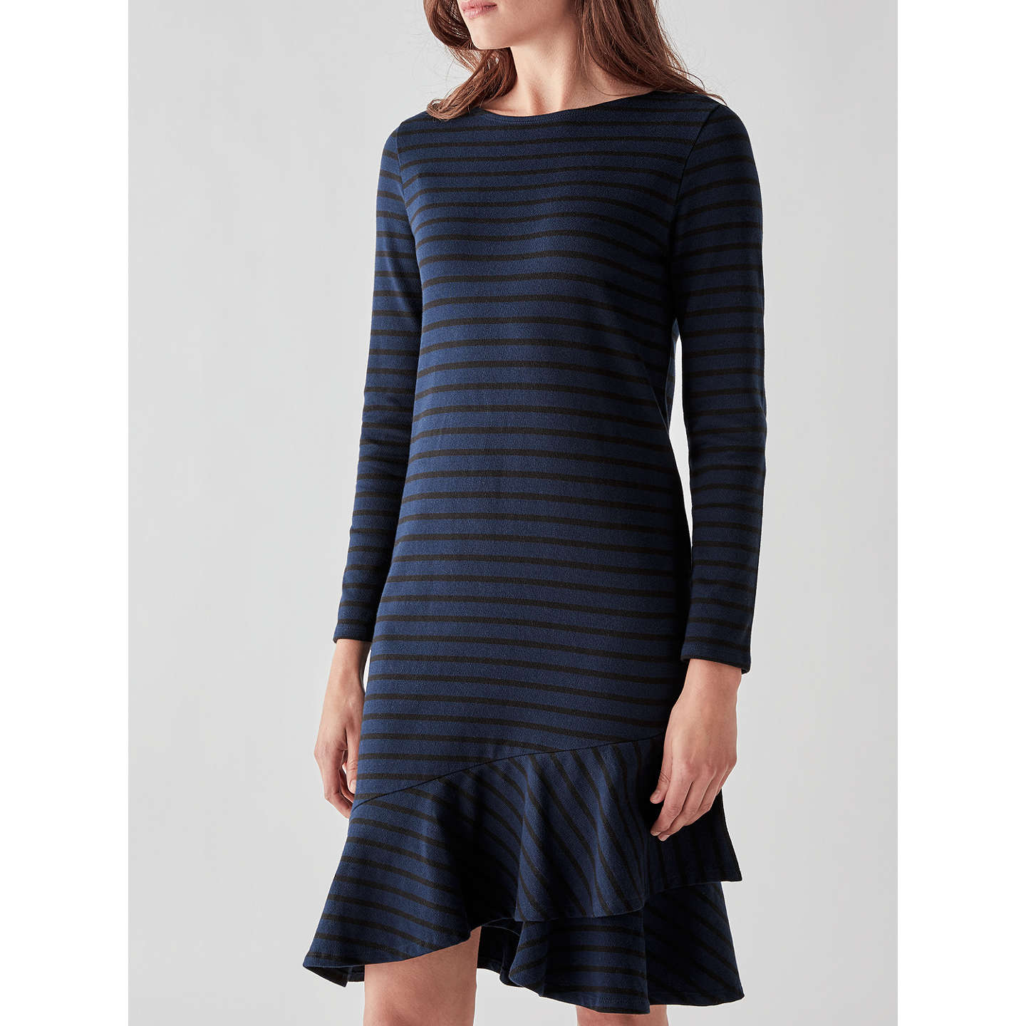 BuyPeople Tree Kaya Frill Dress, Navy/Black, 8 Online at johnlewis.com