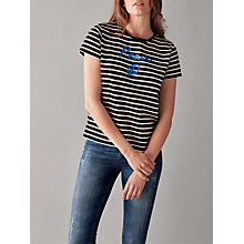 Buy People Tree Peace Stripe T-Shirt, Black/White Online at johnlewis.com