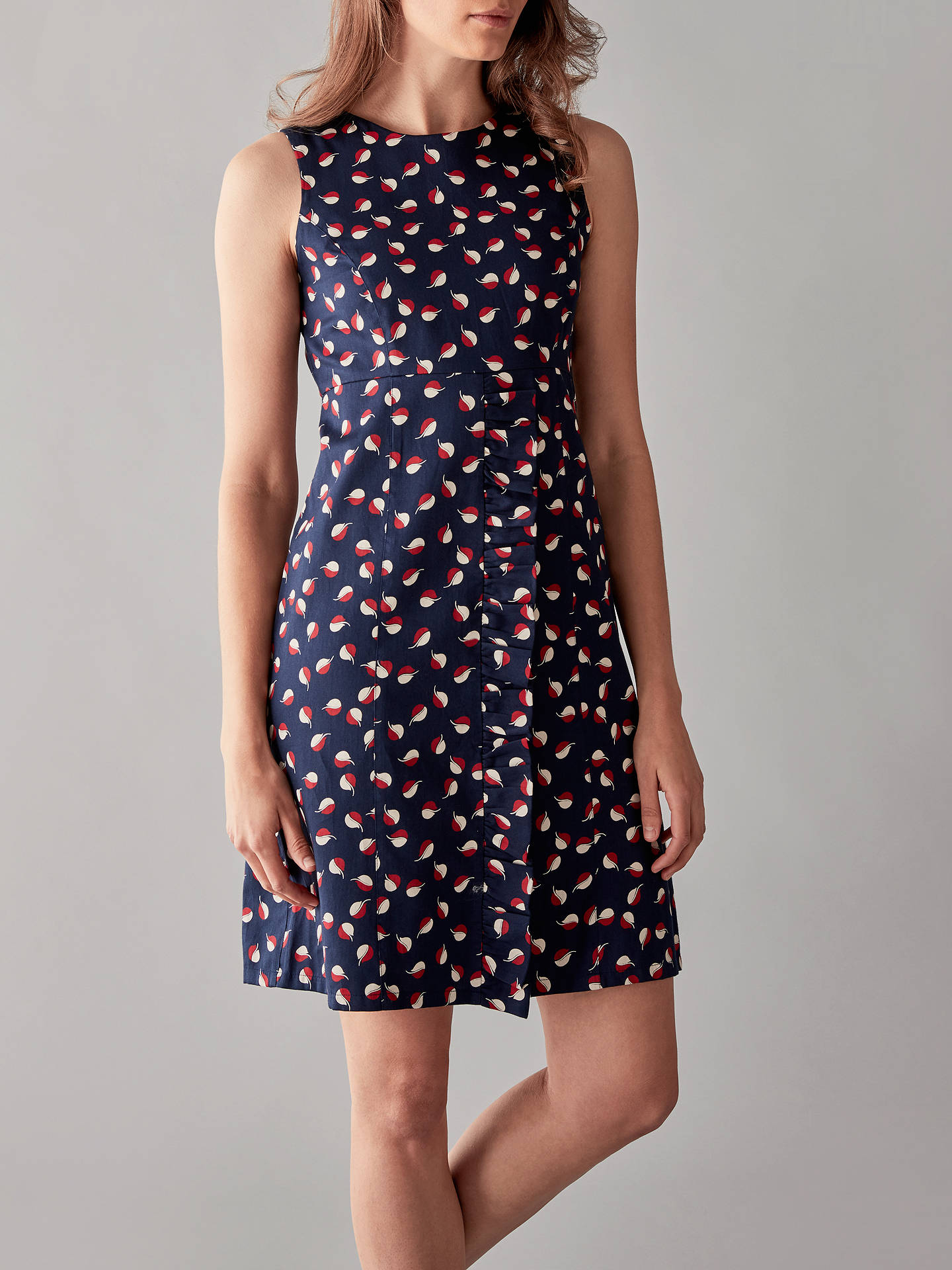 BuyPeople Tree V&A Seed Print Frill Dress, Navy, 8 Online at johnlewis.com