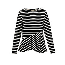 Buy People Tree Julianne Frill Top, Black/White Online at johnlewis.com