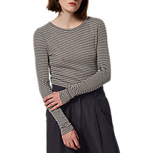 Buy Toast Stripe Fine Wool Tencel T-Shirt, Washed Black/Ecru Online at johnlewis.com