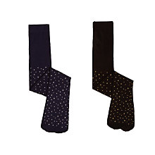 Buy John Lewis Girls' Silver and Gold Star Print Tights, Pack of 2, Black/Navy Online at johnlewis.com