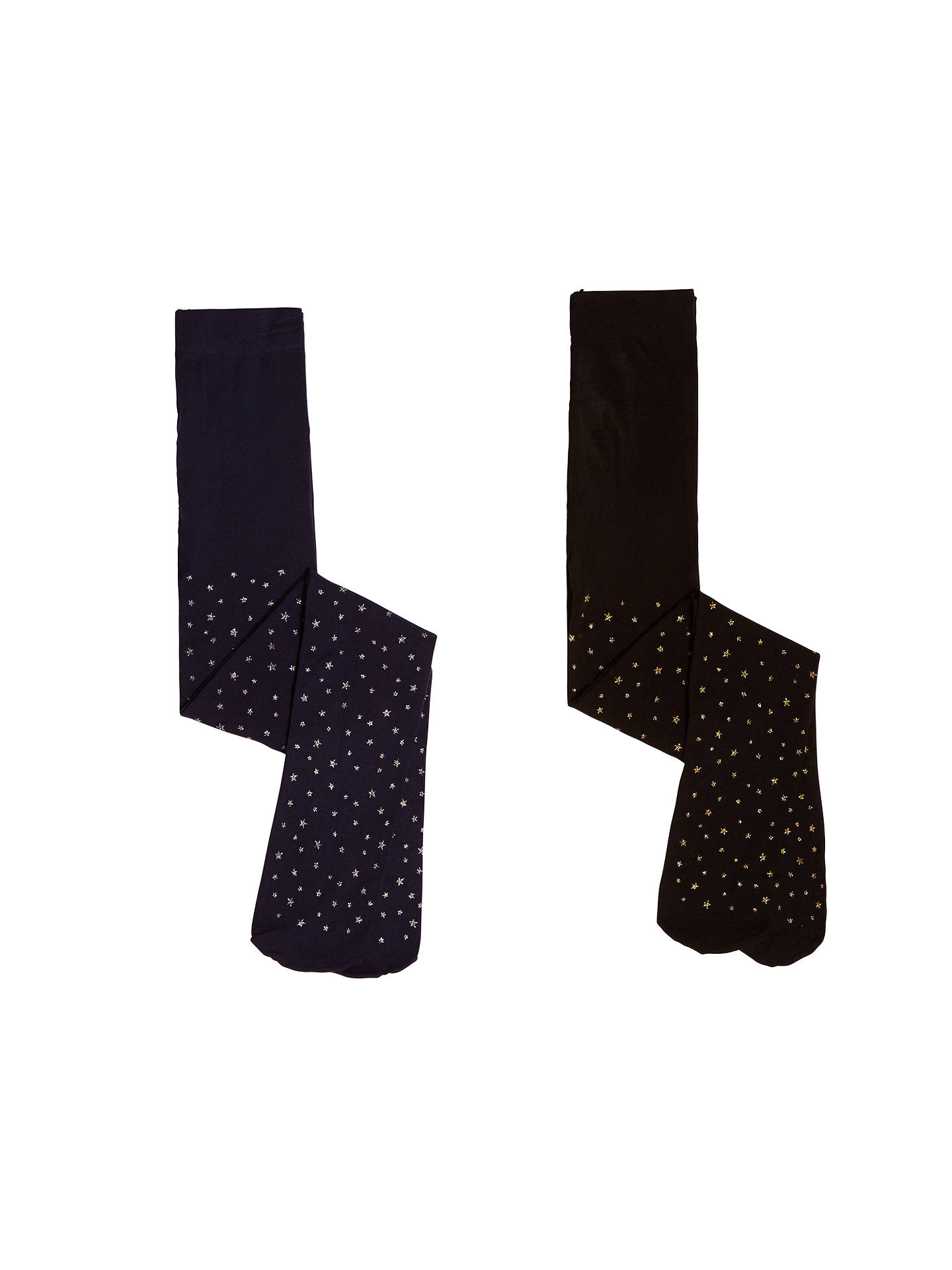 992c195ccf3a6 John Lewis & Partners Girls' Silver and Gold Star Print Tights, Pack of 2,  Black/Navy