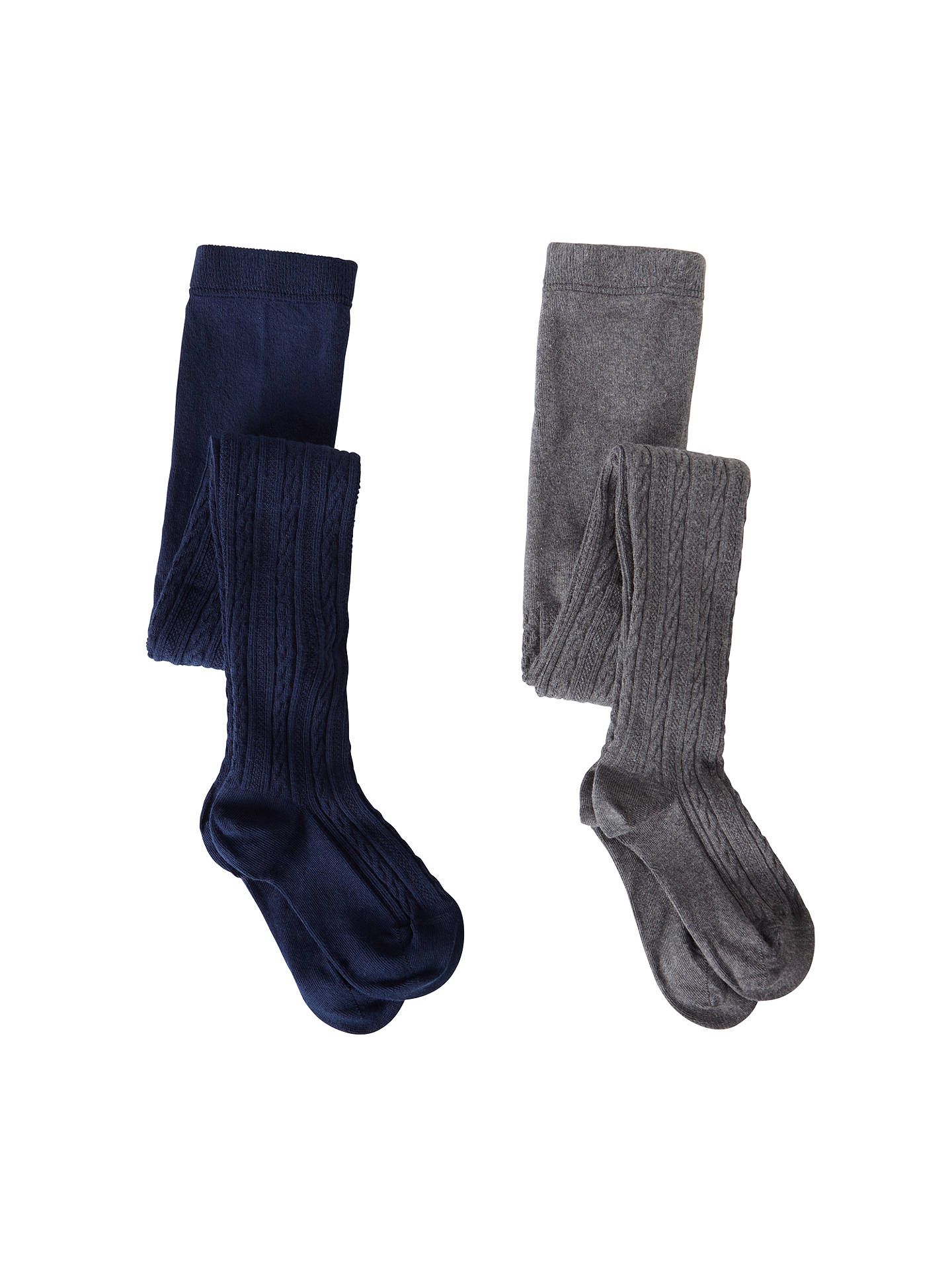 BuyJohn Lewis & Partners Girls' Cable Knitted Tights, Pack of 2, Navy/Grey, 2-3 years Online at johnlewis.com