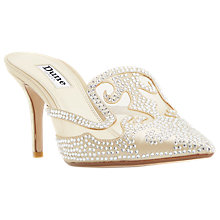 Buy Dune Delights Stiletto Heeled Mule Court Shoes, Champagne Online at johnlewis.com