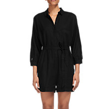 Buy Whistles Elaine Trim Detail Playsuit, Black Online at johnlewis.com