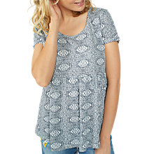 Buy Fat Face Pippa Linear Batik Peplum Top, White Online at johnlewis.com