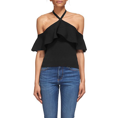 Buy Whistles Frill Halter Neck Knitted Top, Navy Online at johnlewis.com