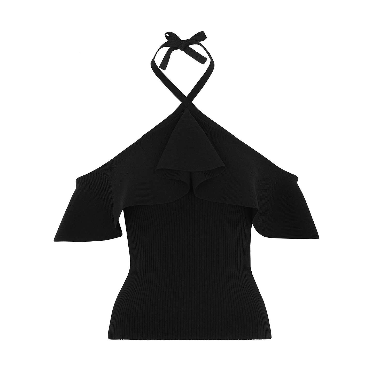 BuyWhistles Frill Halter Neck Knitted Top, Navy, 10 Online at johnlewis.com