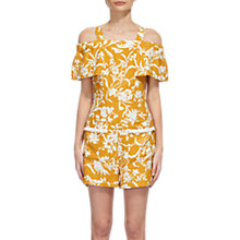 Buy Whistles Cornfield Print Linen Playsuit, Yellow/Multi Online at johnlewis.com