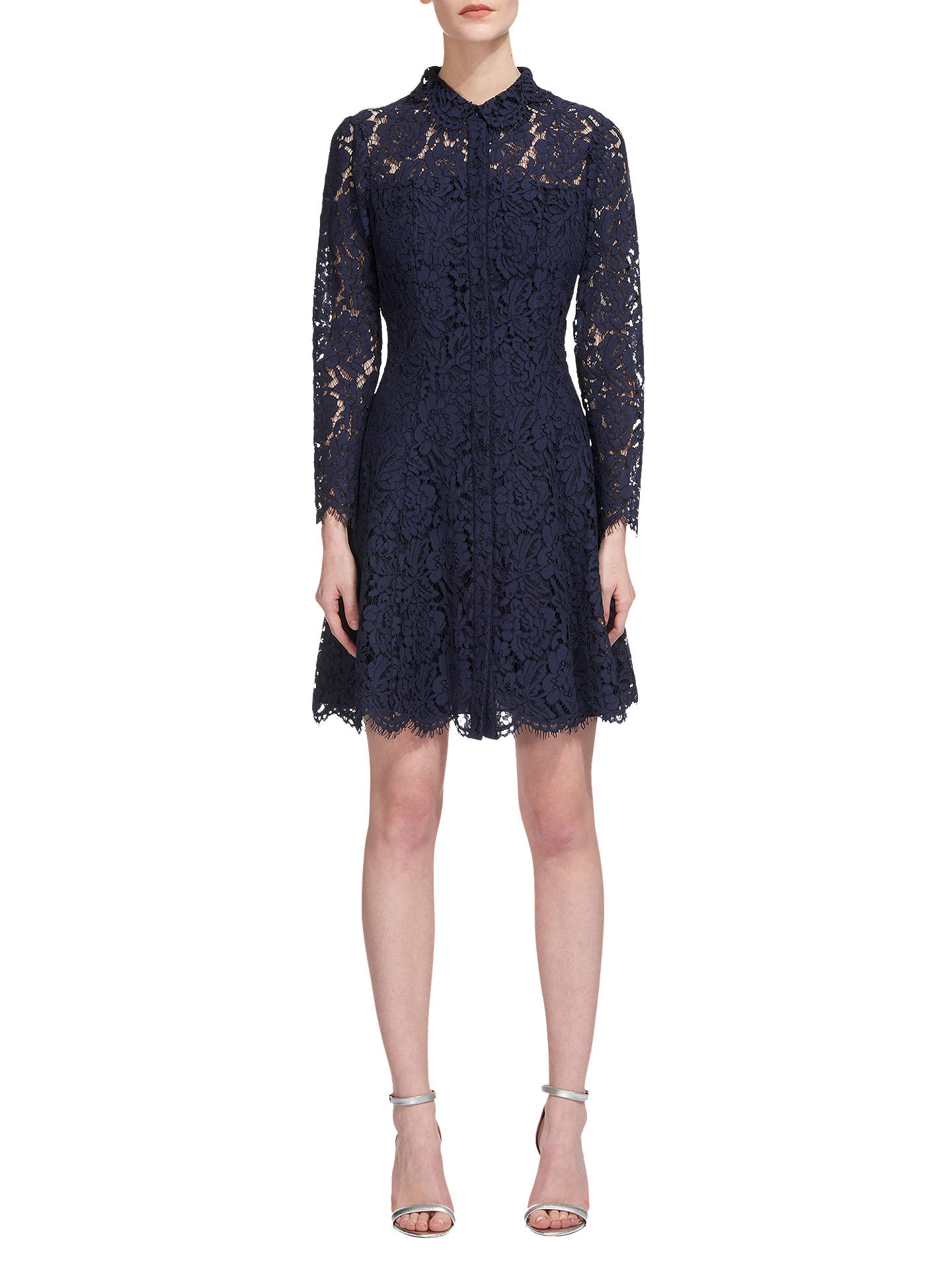 Whistles Lace Shirt Dress Navy At John Lewis Partners