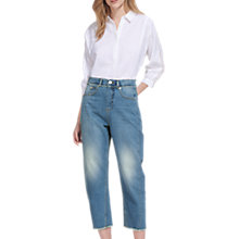 Buy Whistles Frayed Detail High Waist Jeans, Denim Online at johnlewis.com