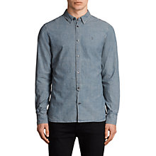 Buy AllSaints Elmwood Long Sleeve Shirt, Blue Online at johnlewis.com