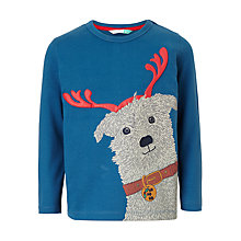 Buy John Lewis Boys' Christmas Dog T-Shirt, Blue Online at johnlewis.com