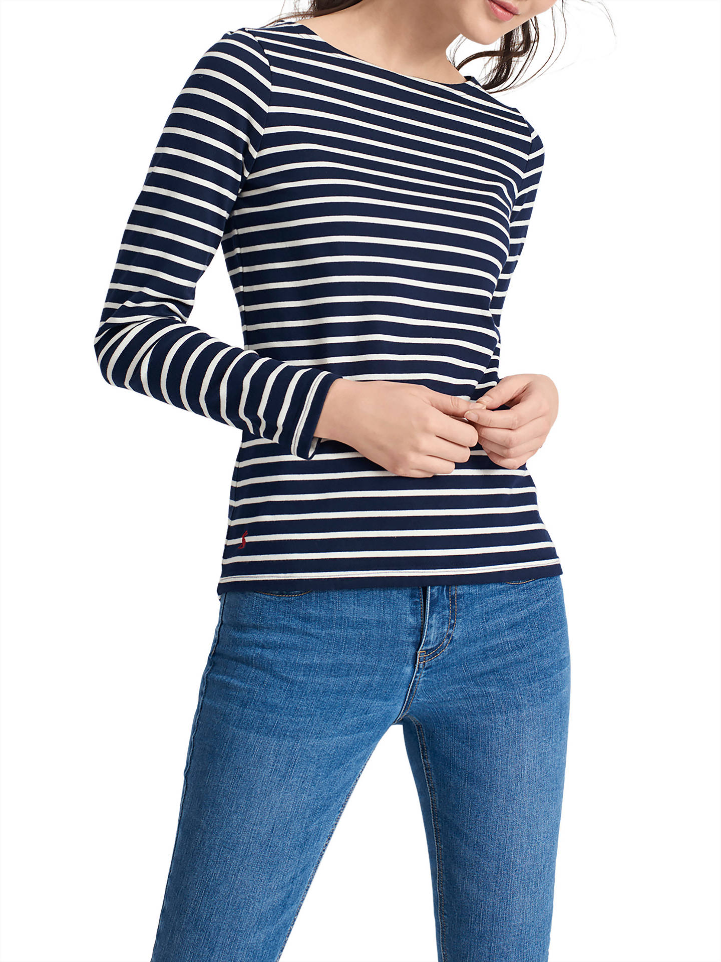 ee40d4c91619e5 Buy Joules Harbour Stripe Long Sleeve Jersey Top, Hope Stripe French Navy,  8 Online ...