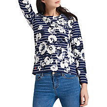 Buy Joules Harbour Long Sleeve Printed Jersey Top, French Navy Posy Stripe Online at johnlewis.com