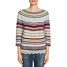 Buy Oui Stripe Boat Neck Jumper, Grey Online at johnlewis.com
