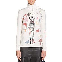 Buy Oui Printed Lola Jumper, White/Red Online at johnlewis.com