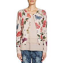 Buy Oui Printed Butterfly Cardigan, Rose/Green Online at johnlewis.com